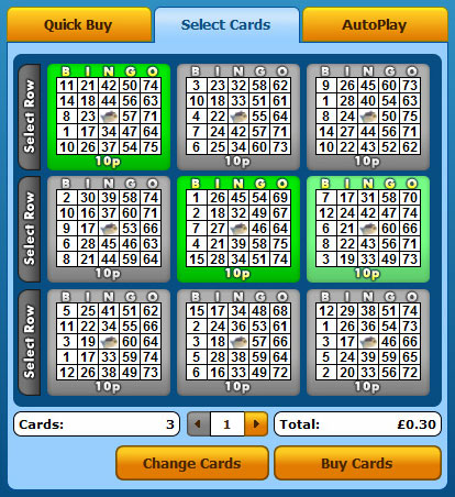 selecting jackpot liner 75 ball bingo cards