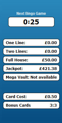 jackpot liner 90 ball bingo game payouts prizes jackpots
