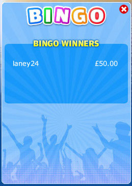 jackpot liner winning bingo message