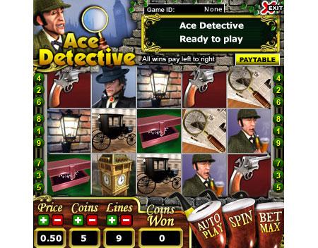 jackpot liner ace detective 5 reel online slots game