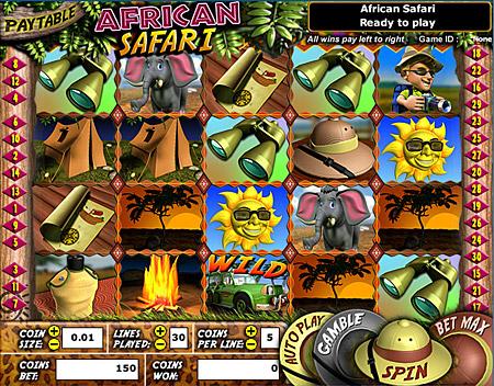 jackpot liner african safari 5 reel online slots game