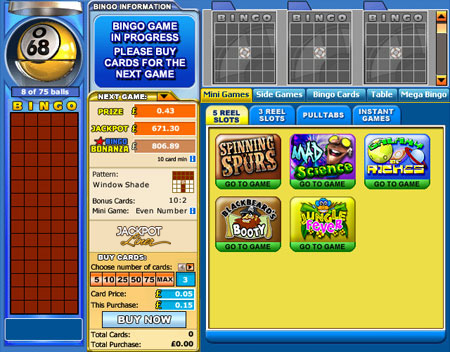 jackpot liner 75 ball online bingo game