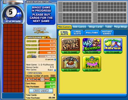 jackpot liner 90 ball online bingo game