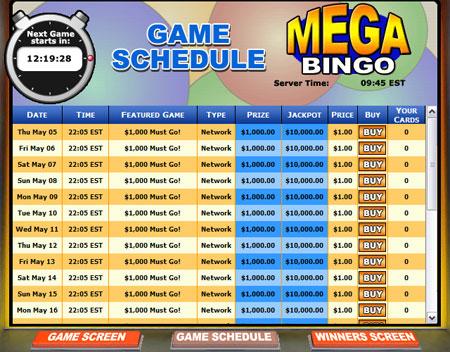 jackpot liner mega bingo network online bingo game