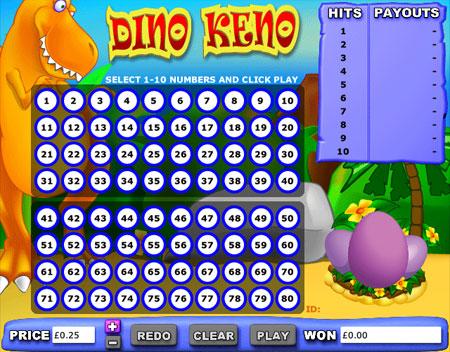 jackpot liner dino keno online casino game