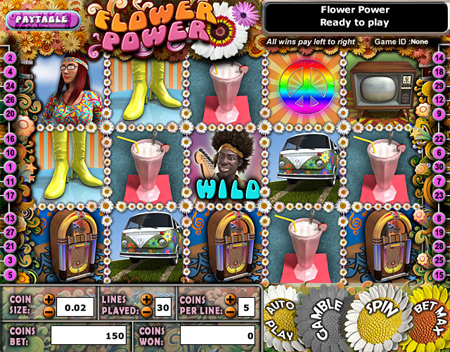 jackpot liner flower power 5 reel online slots game