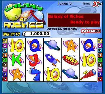 jackpot liner galaxy of riches 5 reel online slots game