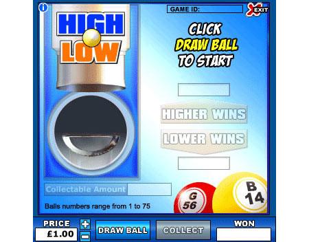 jackpot liner high low online instant win game