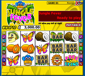 jackpot liner jungle fever 5 reel online slots game