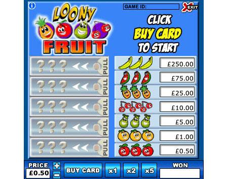 jackpot liner loony fruit online instant win game
