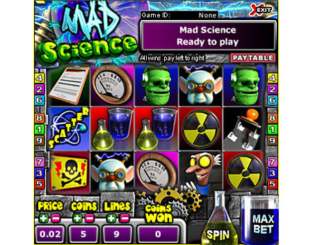 jackpot liner mad scientist 5 reel online slots game