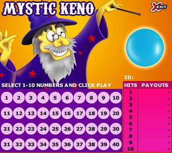 jackpot liner mystic keno online instant win game