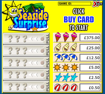 jackpot liner seaside surprise pull tabs online instant win game