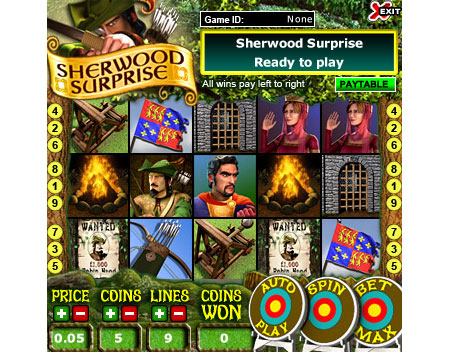 jackpot liner sherwood surprise 5 reel online slots game
