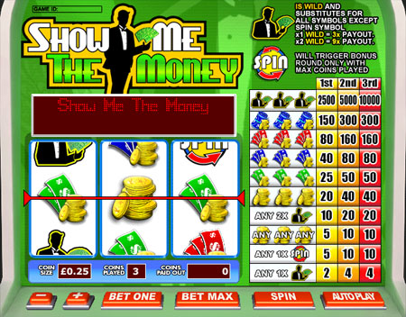 jackpot liner show me the money 3 reel online slots game