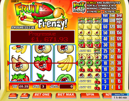 jackpot liner fruit frenzy 3 reel online slots game