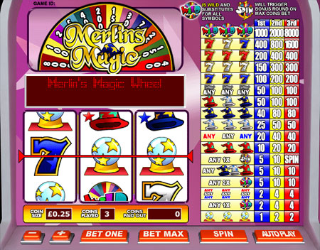 jackpot liner merlins magic 3 reel online slots game