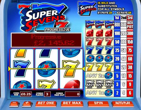 jackpot liner super sevens 3 reel online slots game