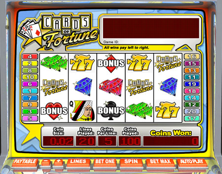 jackpot liner cards of fortune 5 reel online slots game