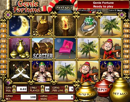 jackpot liner genie fortune 5 reel online slots game