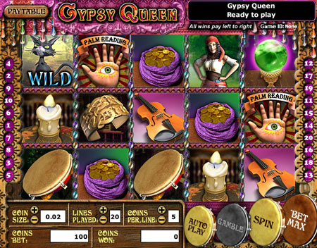 jackpot liner gypsy queen 5 reel online slots game