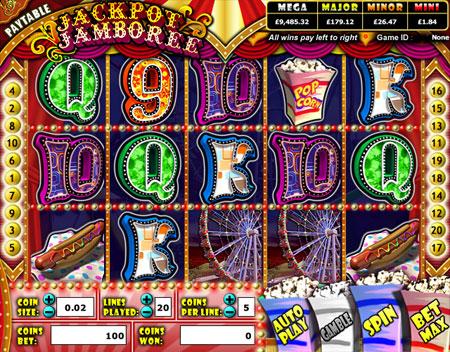 jackpot liner jackpot jamboree 5 reel online slots game