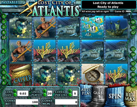 jackpot liner lost city of atlantis 5 reel online slots game