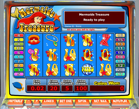 jackpot liner mermaids treasure 5 reel online slots game
