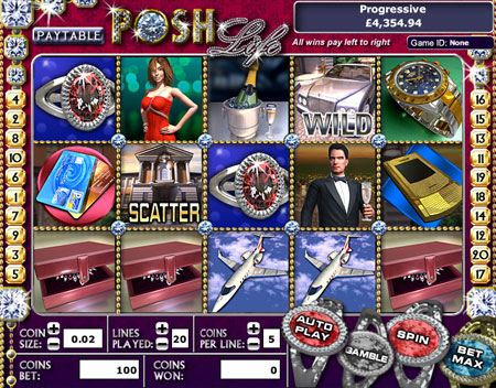 jackpot liner posh life 5 reel online slots game