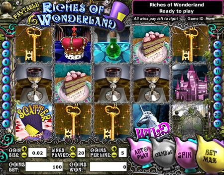jackpot liner riches of wonderland 5 reel online slots game