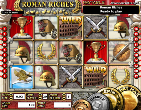 jackpot liner roman riches 5 reel online slots game